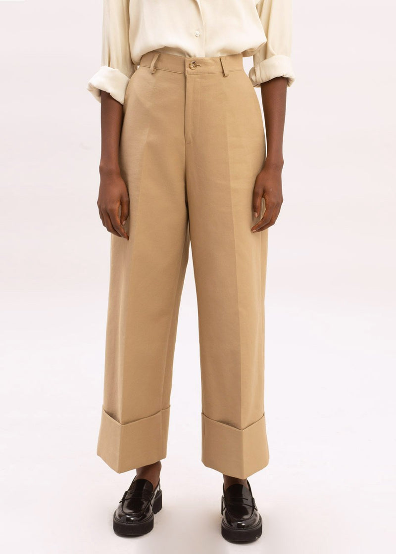 Cuffed Wide Leg Pressed Crease Pants in Desert Sand