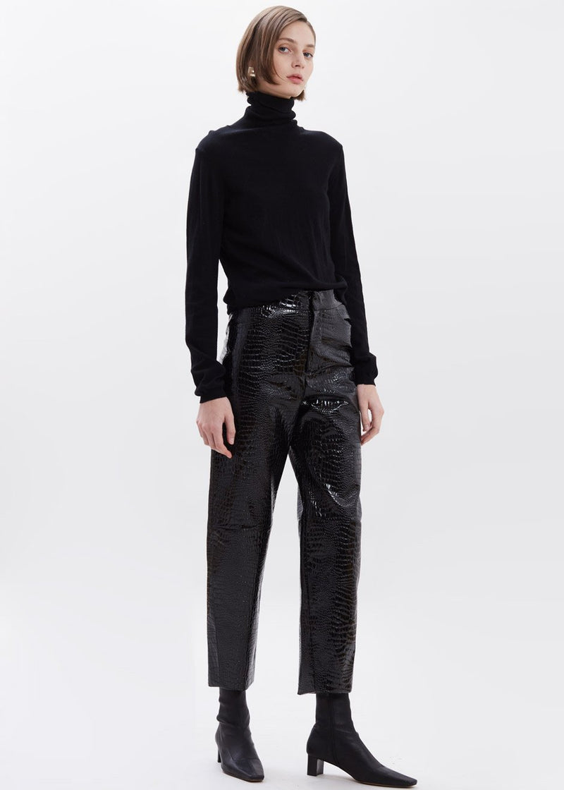 Croc Embossed Patent Tapered Pants in Black