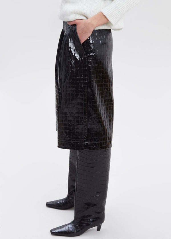 Croc Embossed Patent Long Shorts in Black