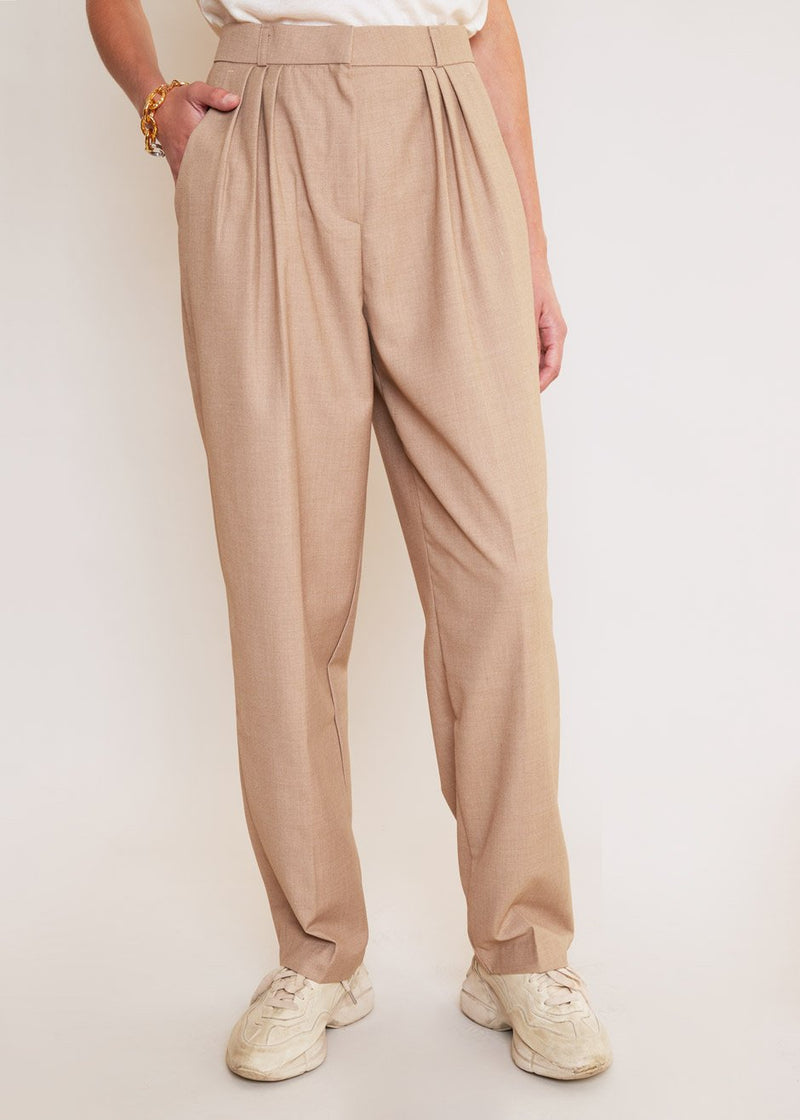 Straight Leg Pleat Front Trousers in Natural