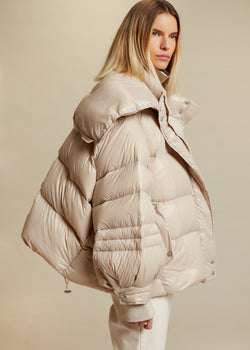 Boxy Puffer Jacket in Pearl