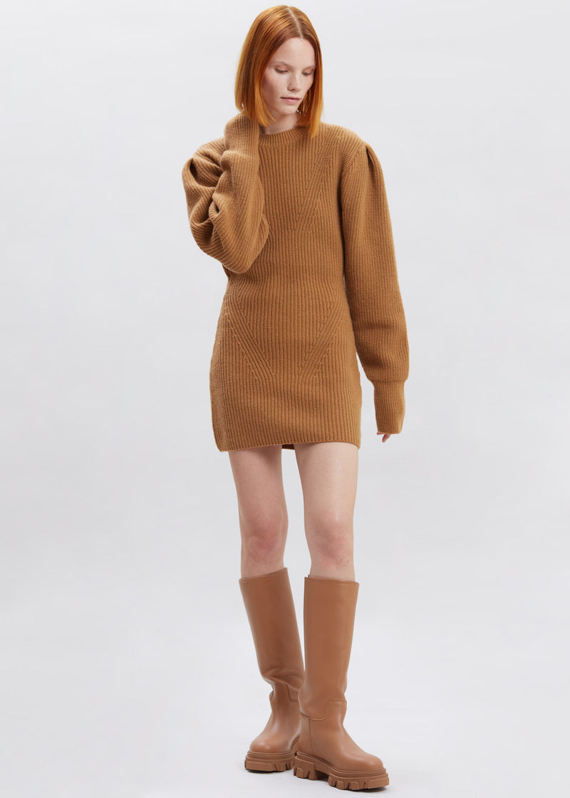 Puff Sleeve Knit Mini Dress in Biscuit