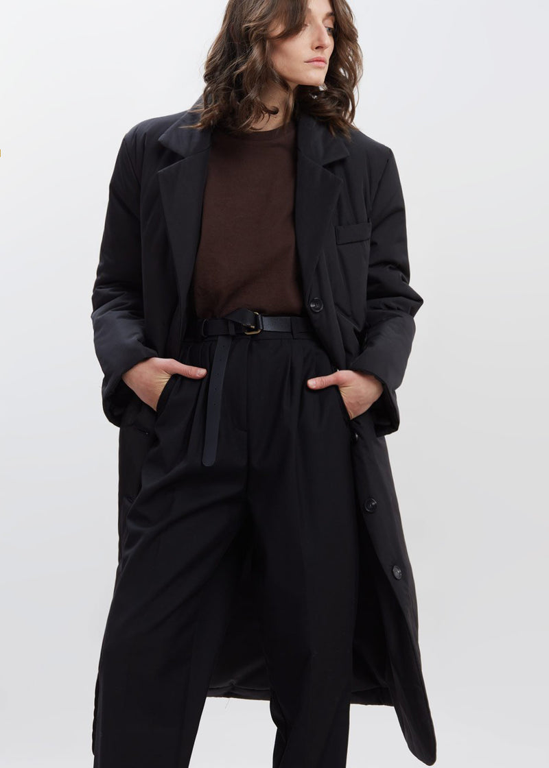 Puffy Padded Nylon Overcoat in Black