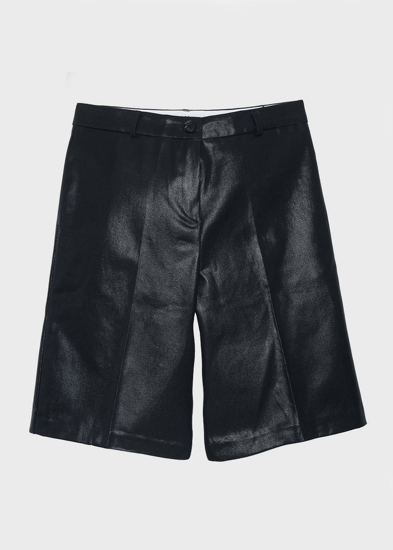 Coated Bermuda Shorts in Black