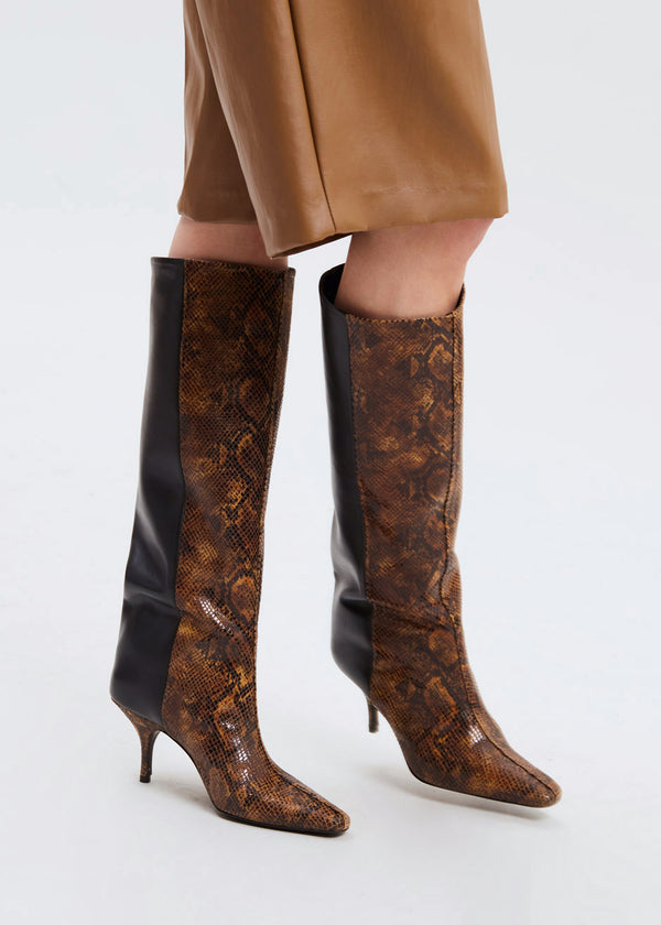 Gestuz Ciana Two Tone Leather Boots-Brown Embossed