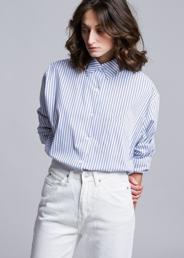 Pinstripe Statement Cuff Shirt in White/Cobalt