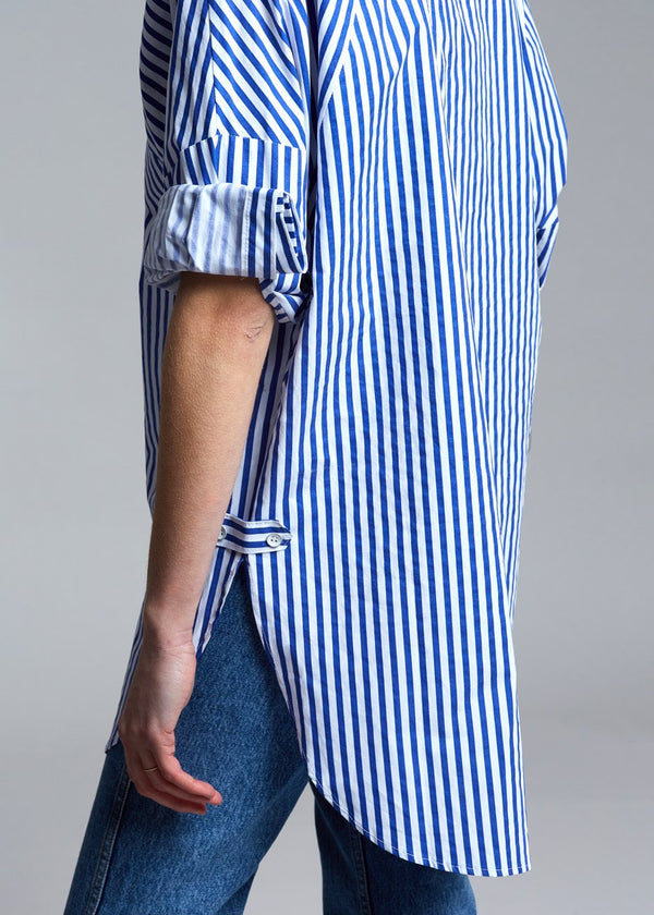 Mixed Stripe Shirt in Nautical Blue/White