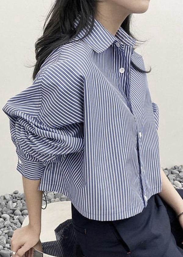 Double Hem Cropped Shirt in Slate Stripe