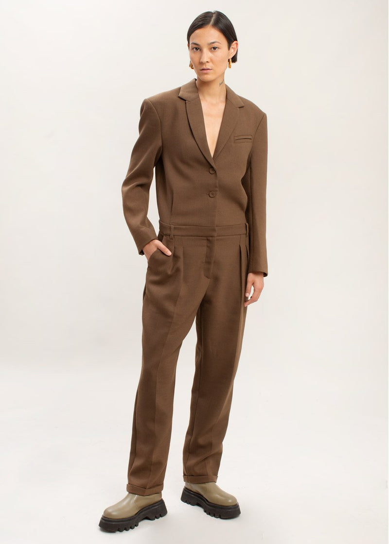 Wall Street Jumpsuit by The Garment in Brown