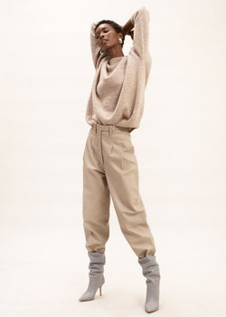 Marionette Leather Pants by Remain Birger Christensen in Vintage Khaki