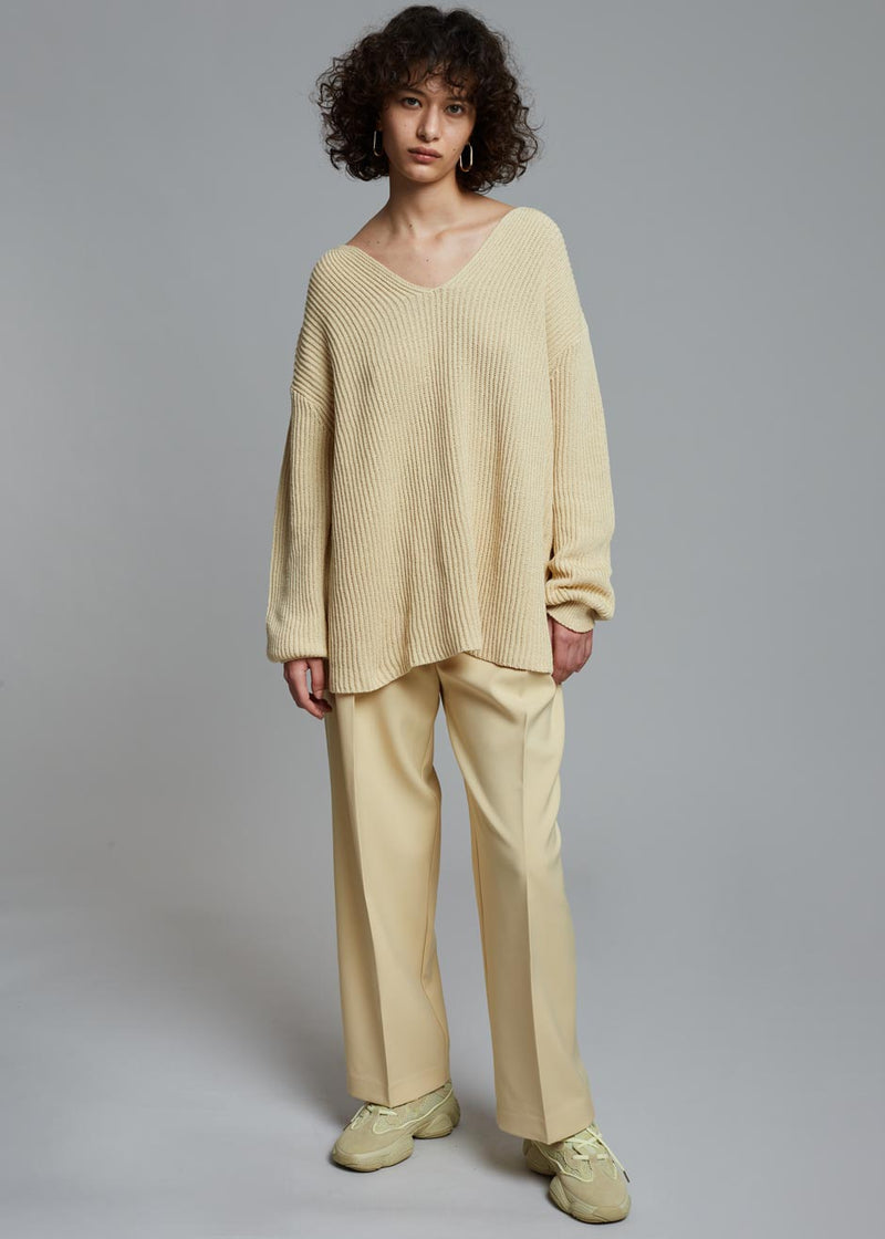 Jolie Ribbed Pullover in Straw