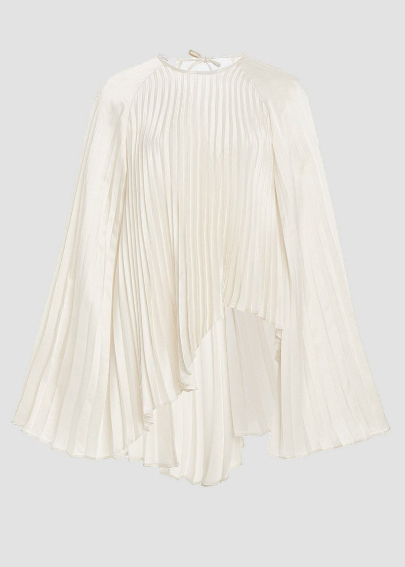 Redi Satin Plissé Blouse by Beaufille in Pearl