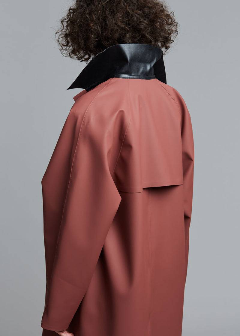 Rubber Trench Coat by KASSL Editions in Red Clay