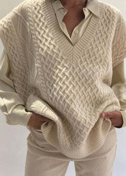 Oversized Cable Knit Vest in Winter White