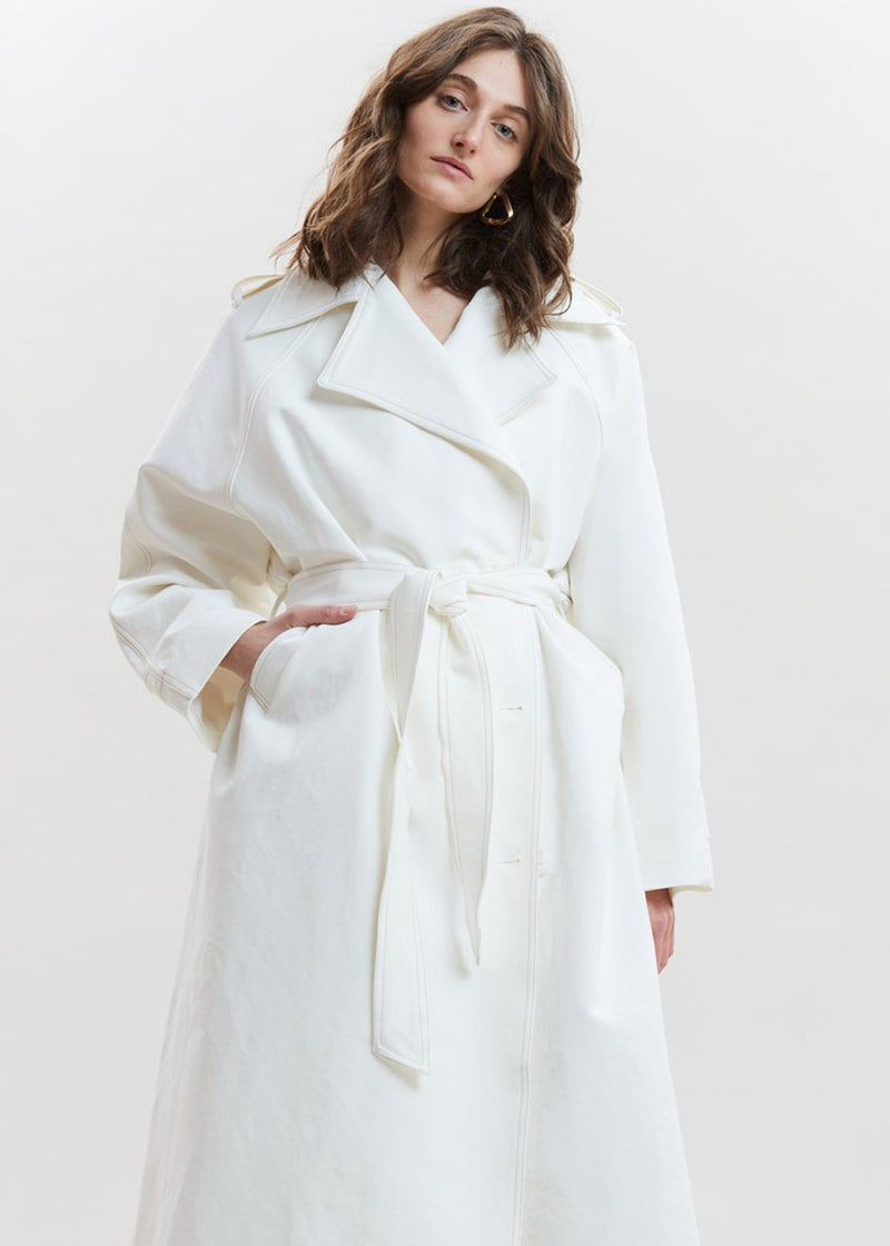 Smocked Back Oversized Trench in Ivory