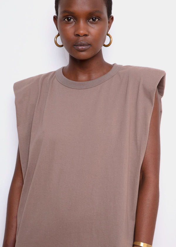 Tina Padded Shoulder Muscle Dress- Mocha