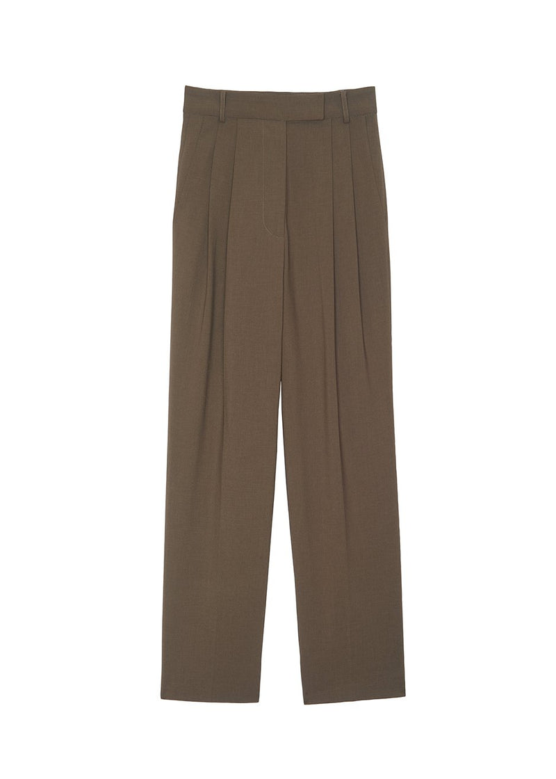 Bea Pleated Suit Pants in Chocolate