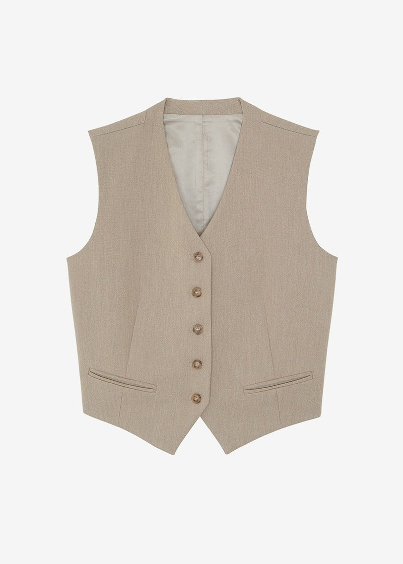 Fitted Waistcoat in Travertine
