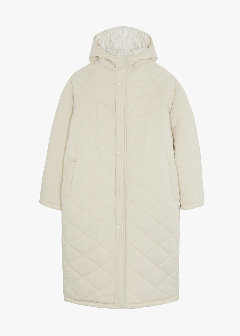 Quilted Long Coat in Eggnog