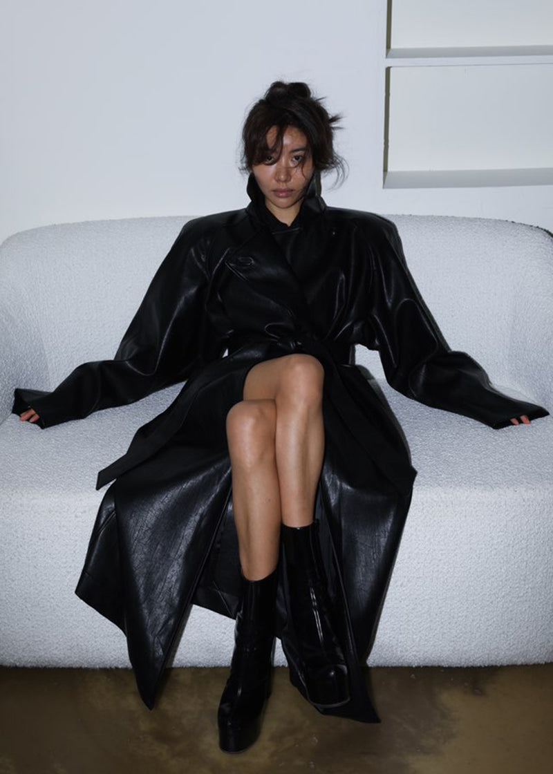 Oversized Box Shoulder Faux Leather Trench in Black