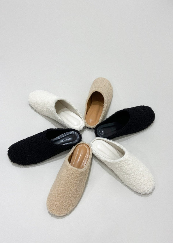 Winter Shearling Slippers in Black