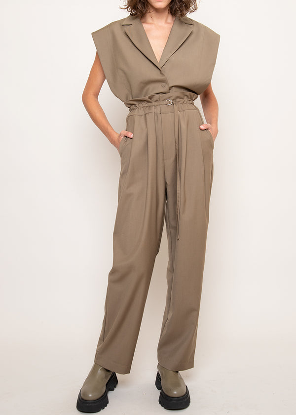 Paperbag Pleat Front Pants in Pale Olive