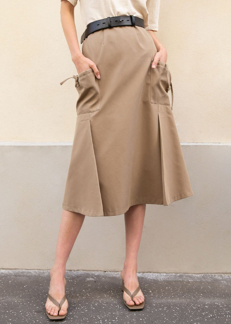 A-Line Belted Skirt with Drop Pocket in Taupe Skirt Ready 2 Wear