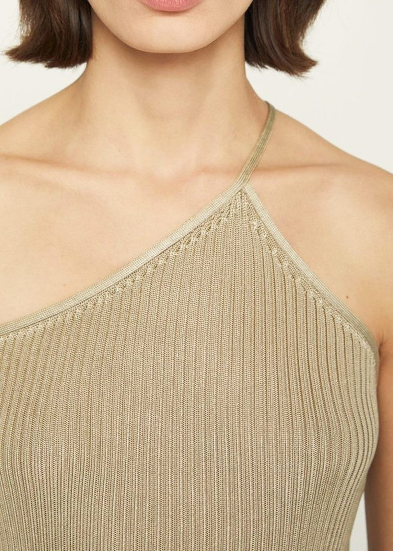 Adage Rib Knit One Shoulder Top by Aeron in Champagne Top Aeron