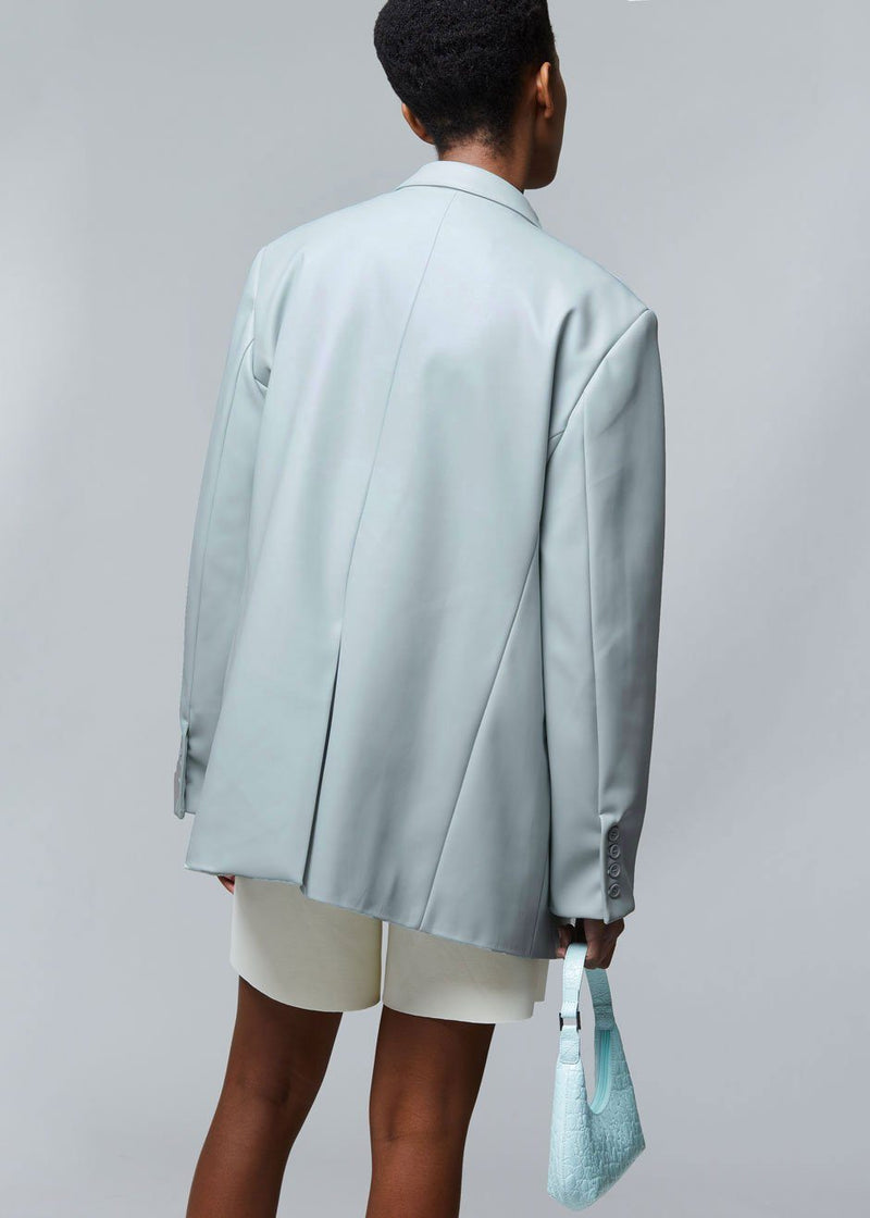 Agnes Faux Leather Blazer in Pale Blue Blazer Paper Moon