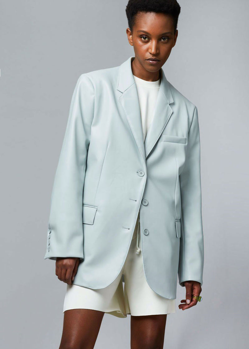 Agnes Faux Leather Blazer in Pale Blue