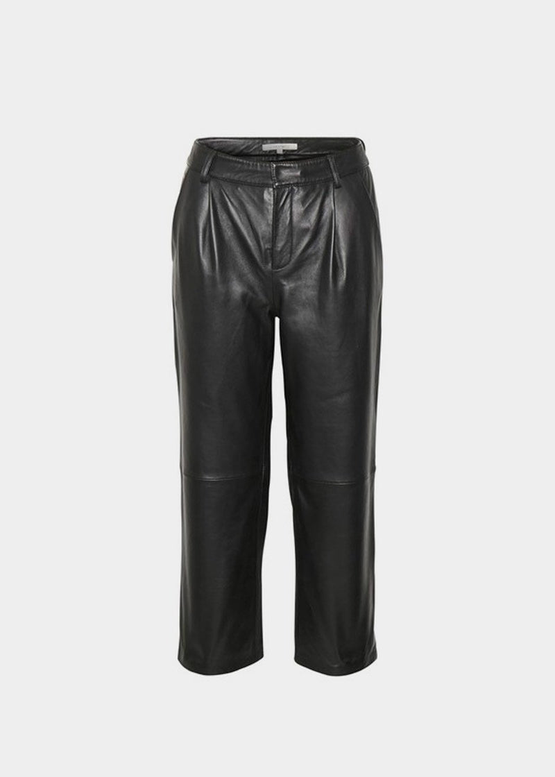 Aliah Leather Culotte Trousers by Gestuz in Black Pants Gestuz