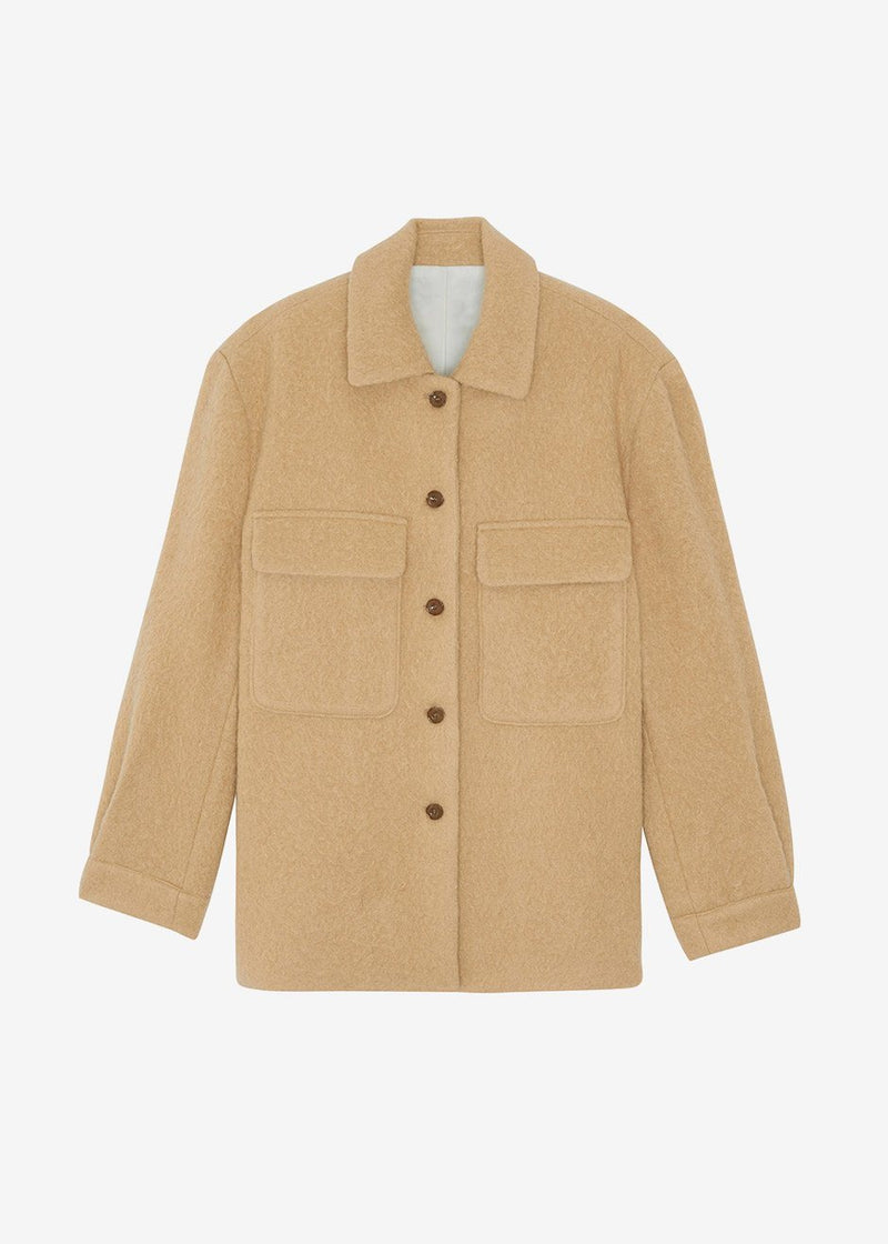 Alpaca Blend Shirt Jacket in Camel Jacket Issue