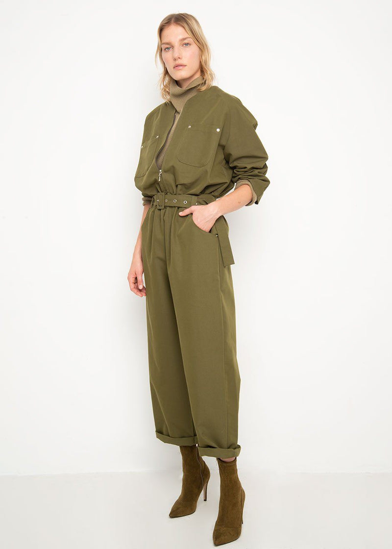 Army Green Collarless Utility Jumpsuit Jumpsuit Beside You