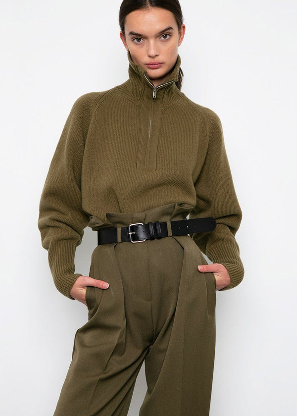Army Green Paperbag Pants with Black Belt pants Ready 2 Wear