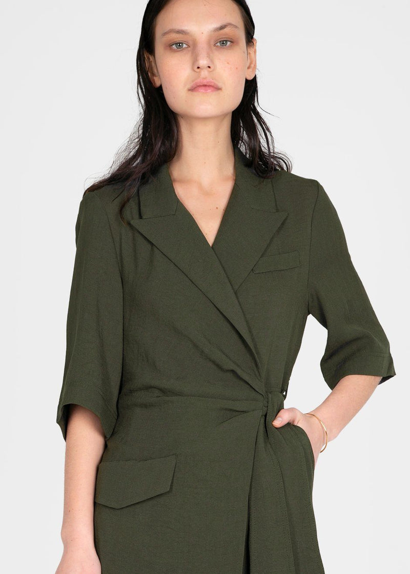 Astero Wrap Front Jumpsuit by Nanushka- Amazon Green Jumpsuit Nanushka