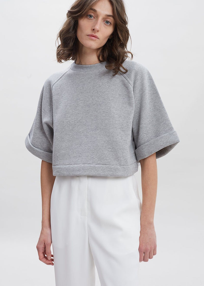 Aura Cropped Sweatshirt by Remain Birger Christensen in Light Grey Melange Sweatshirt Remain