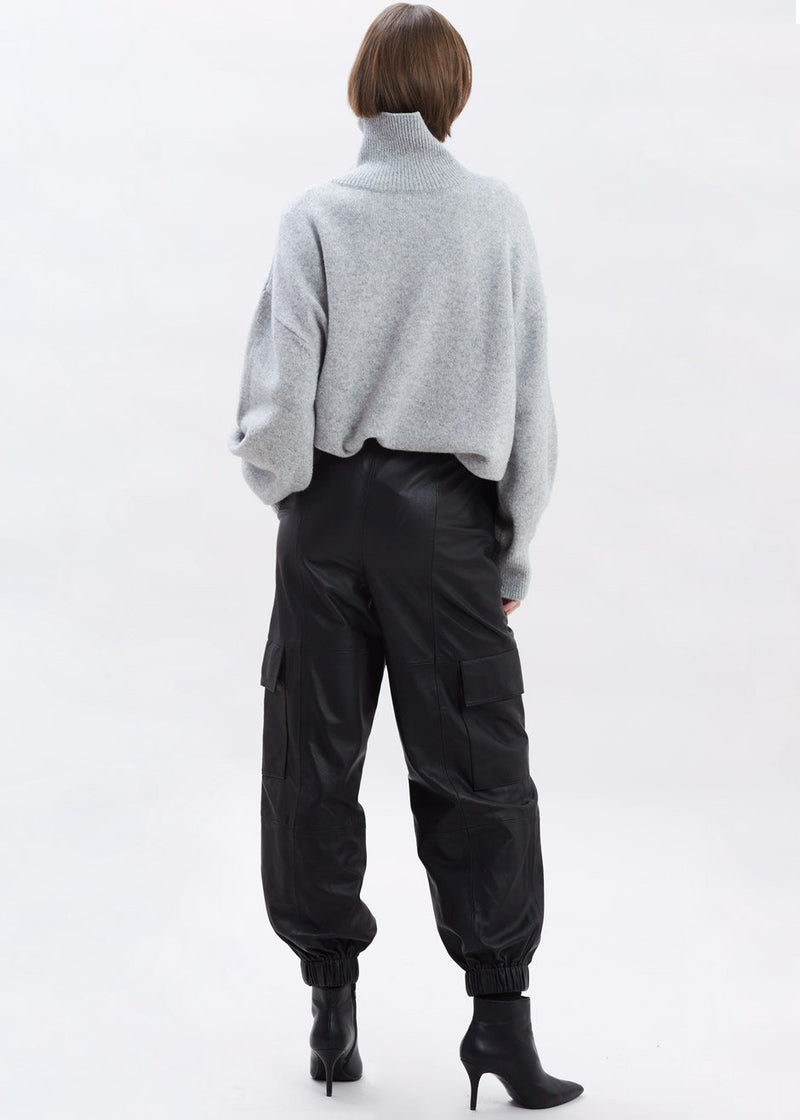 Baila Leather Cargo Pants by Gestuz in Black Pants Gestuz