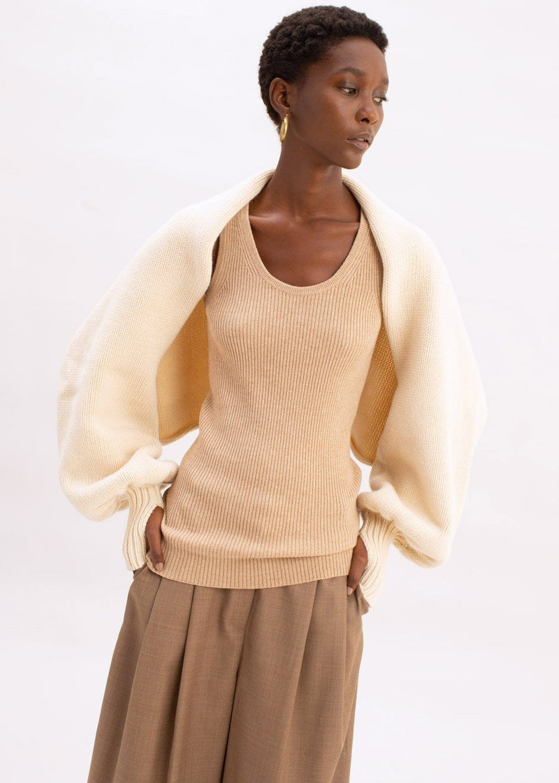 Balloon Sleeve Knit Shrug by Ter et Bantine in Cream Sweater Ter et Bantine
