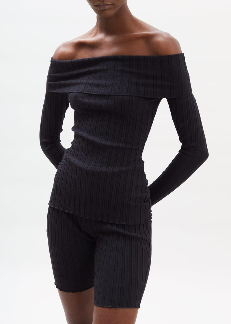 Bauer Fold Over Long Sleeve Top by Simon Miller in Black Top Simon Miller