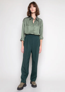 Bea Pleated Suit Pants in Forest Green Pants Blossom