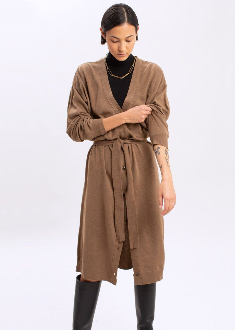 Belted Long Cardigan in Cocoa Powder Sweater The Frankie Shop