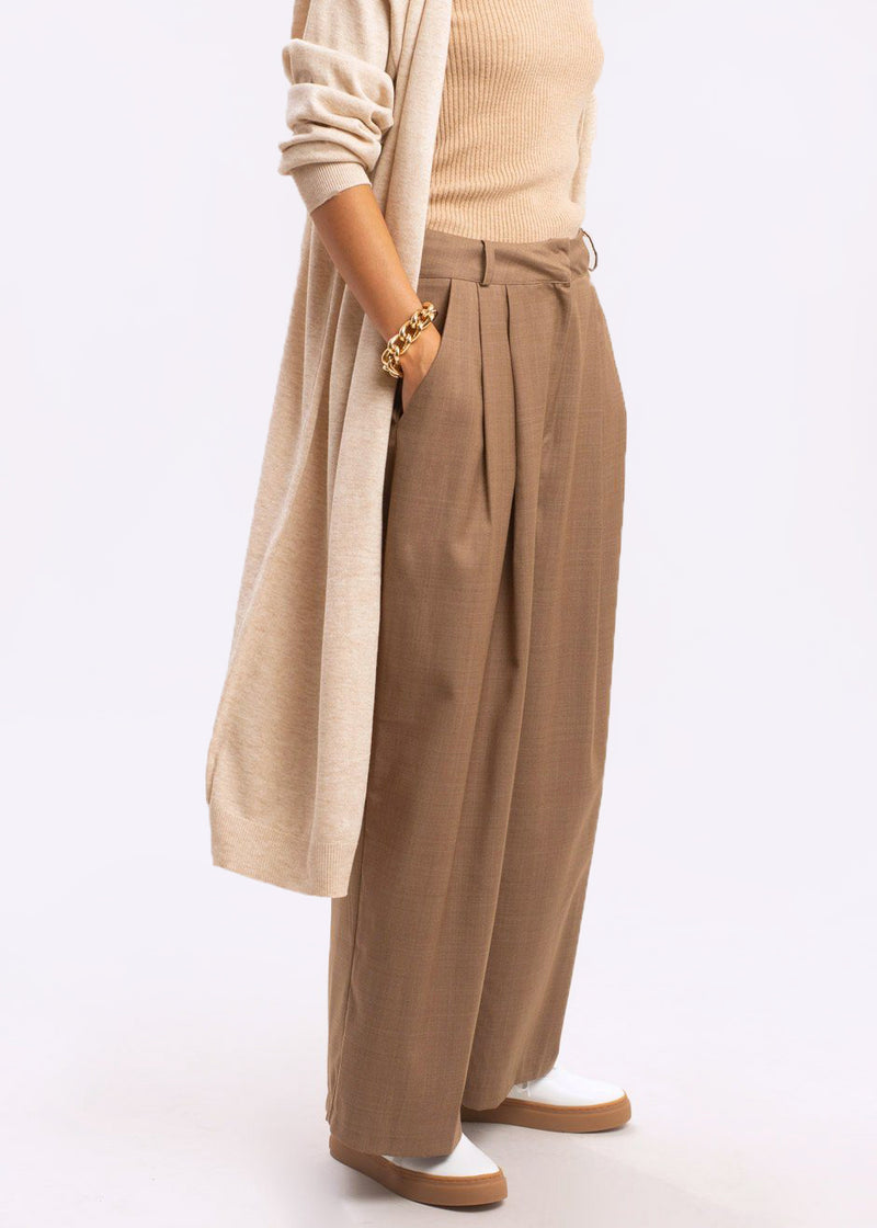 Belted Long Cardigan in Oatmeal