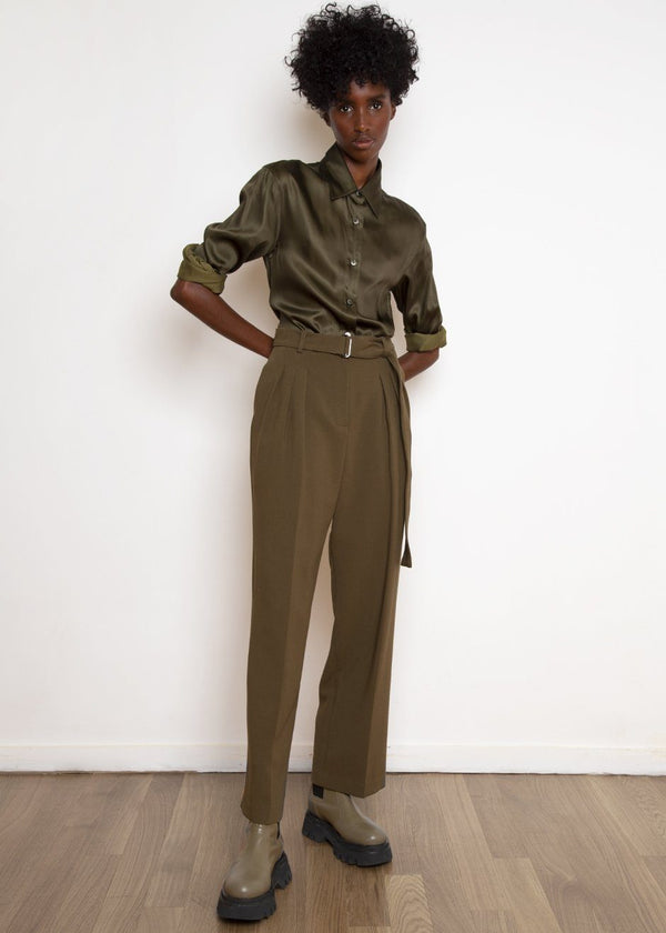 Belted Suit Pants in Cardamom Pants The Frankie Shop