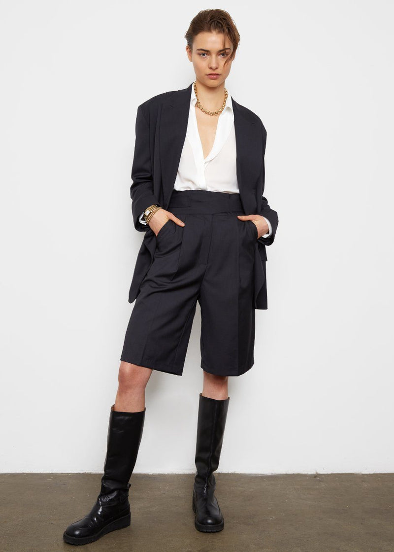 Belted Tab Trouser Shorts- Charcoal Blue Shorts Another Avenue