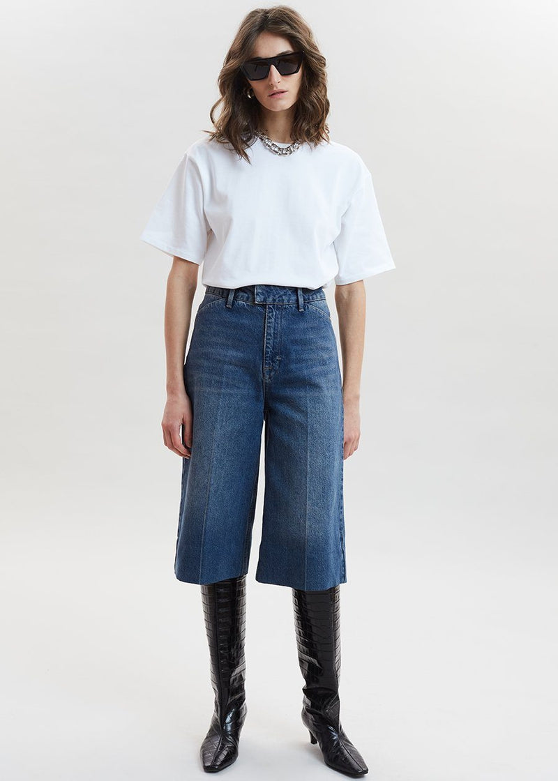 Bernadette High Waisted Short Culottes by Remain Birger Christensen in Vintage Blue Pants Remain