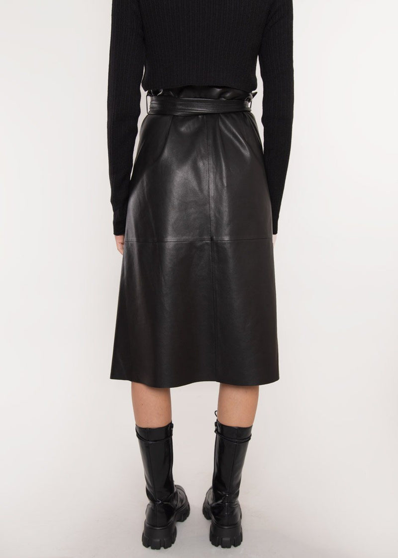 Bibi Leather Wrap Skirt by Rika Studios in Black Skirt Rika Studios