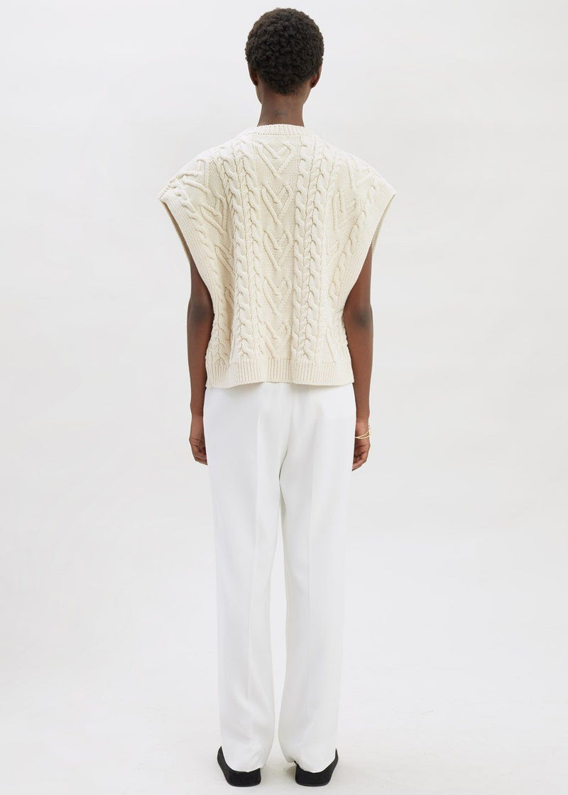 Boxy Cable Knit Sweater Vest in Vanilla