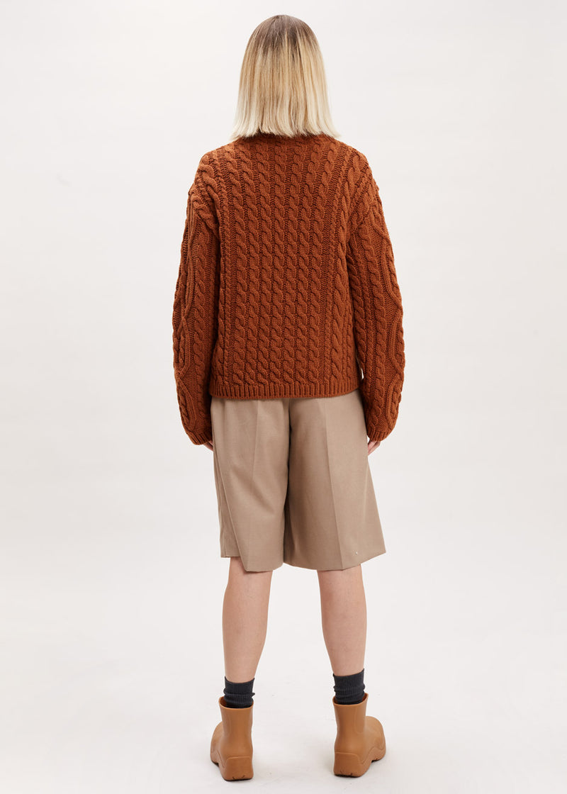 Cable Knit Turtleneck Sweater in Auburn