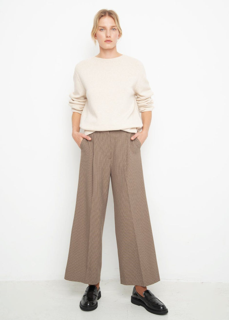 Brown Houndstooth Straight Tab Trousers Pants Blossom