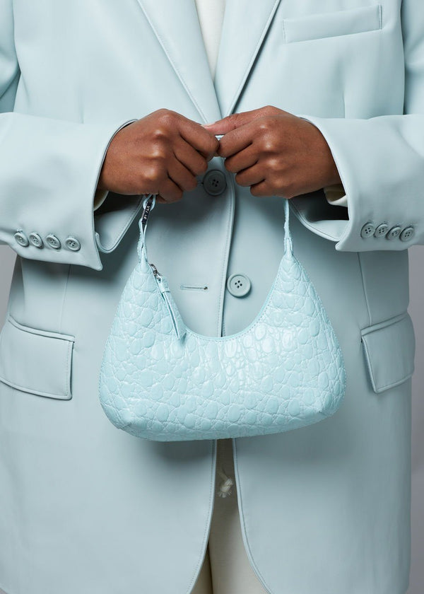 BY FAR Baby Amber Embossed Leather Bag in Ice Bags By Far
